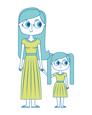 mother holding hand with her daughter vector illustration green image