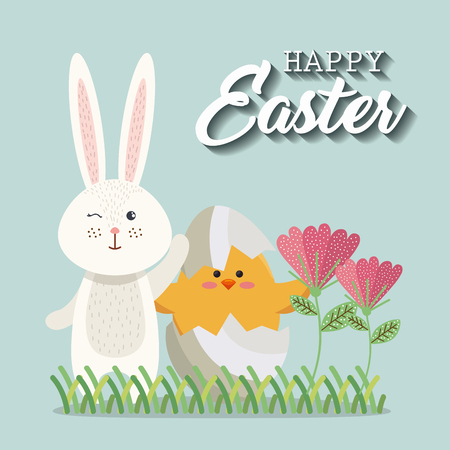 little chick and rabbit easter card vector illustration design Stock Illustratie