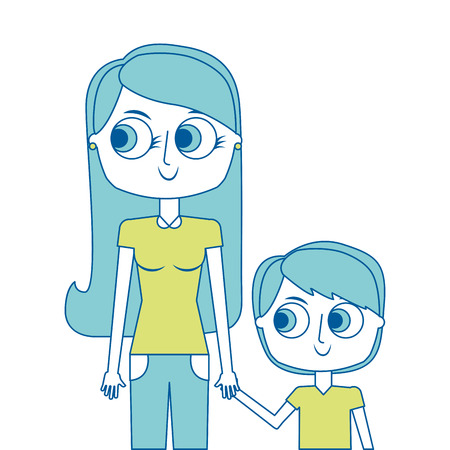happy mother and her son cartoon portrait vector illustration green image Banque d'images - 96942397