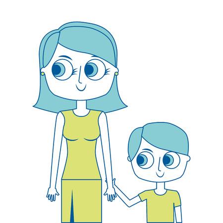 happy mother and her son cartoon portrait vector illustration green image Reklamní fotografie - 96942402