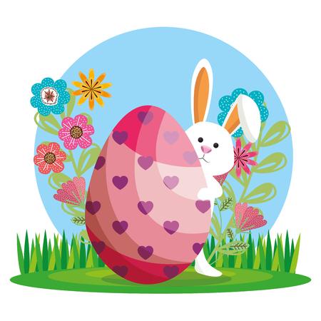 cute rabbit happy easter card vector illustration design