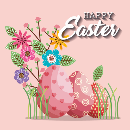 basket with eggs paint easter card vector illustration design Illustration