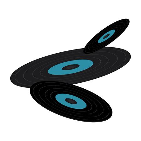 set of retro classic music vinyl discs vector illustration