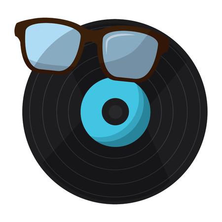 retro glasses and vinyl disk vintage style vector illustration