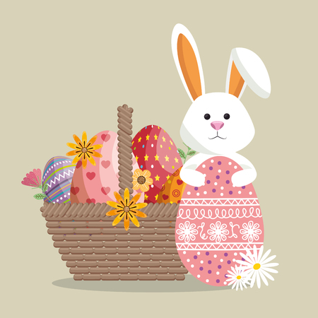 cute rabbit happy easter card vector illustration design