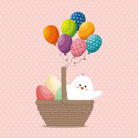 small chick happy easter card vector illustration design