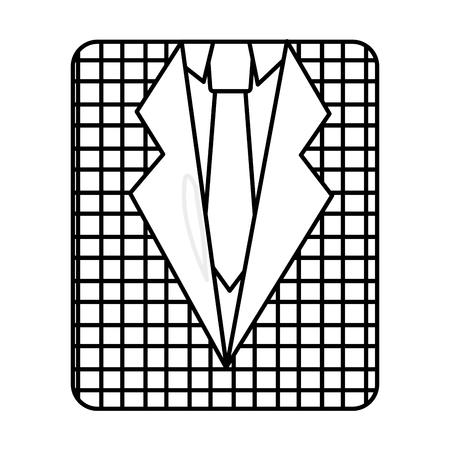 レトロなチェッカーシャツとネクタイファッションベクターイラストアウトライン画像  イラスト・ベクター素材