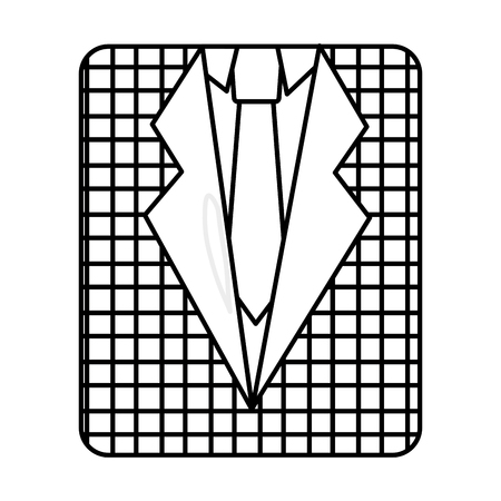 retro checkered shirt and necktie fashion vector illustration outline image