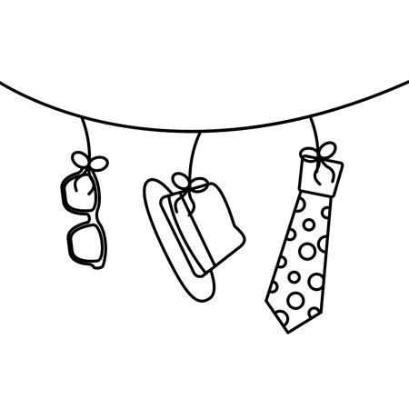 classic hat necktie and glasses hanging decoration vector illustration outline image Illustration