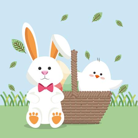 little chick and rabbit easter card vector illustration design Ilustrace