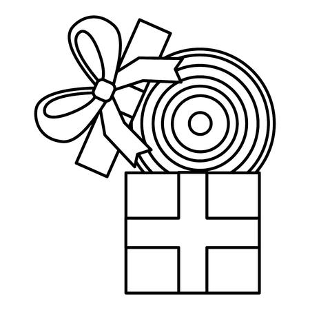 gift box with vinyl disk surprise vector illustration outline image Illustration