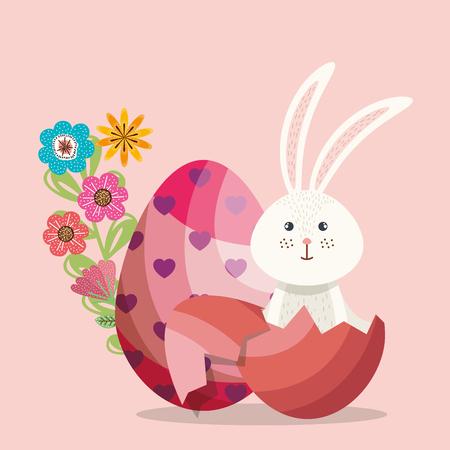 cute rabbit happy easter card vector illustration design Archivio Fotografico - 96947019