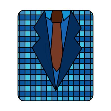 retro checkered shirt and necktie fashion vector illustration