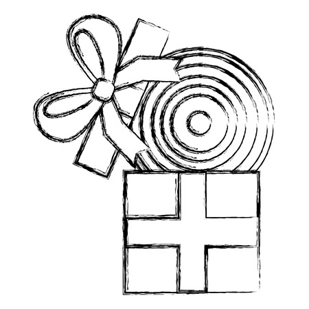 gift box with vinyl disc surprise vector illustration sketch image  イラスト・ベクター素材