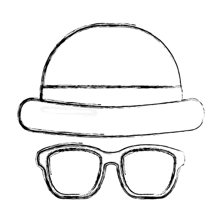 classic hat and glasses fashion men vector illustration sketch image