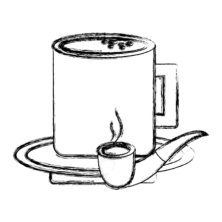tobacco pipe and coffee cup in plate vector illustration sketch image