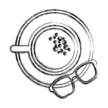 coffee cup in dish and glasses top view vector illustration sketch image