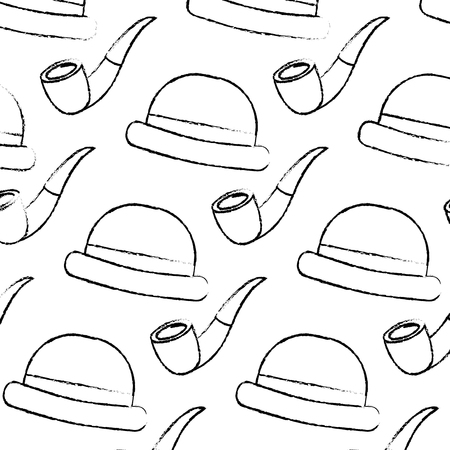 classic hat and tobacco pipe hipster style wallpaper vector illustration sketch image