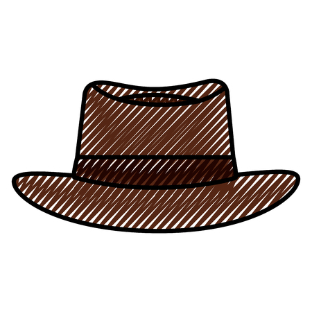 classic hat men cloth fashion vector illustration drawing color image