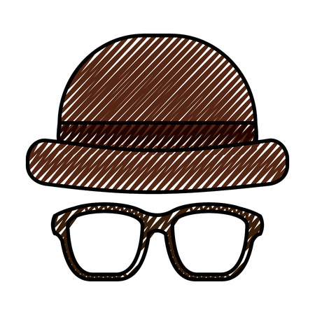 classic hat and glasses fashion men vector illustration drawing color image
