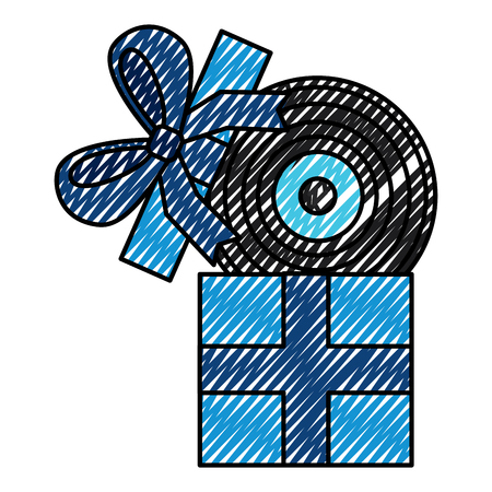 gift box with vinyl disc surprise vector illustration drawing color image