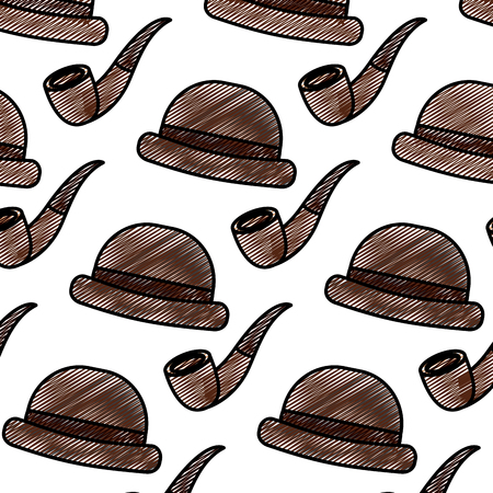 classic hat and tobacco pipe hipster style wallpaper vector illustration drawing color image