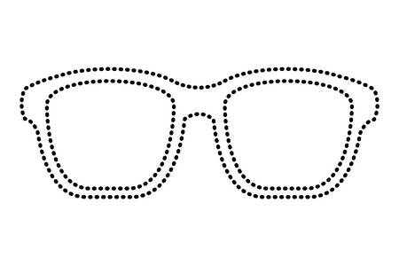 hipster glasses fashion trendy aceessory vector illustration dotted line image Imagens - 96947130