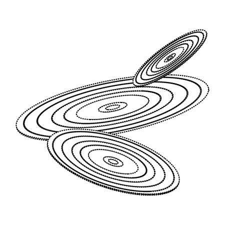 set of retro classic music vinyl discs vector illustration dotted line image