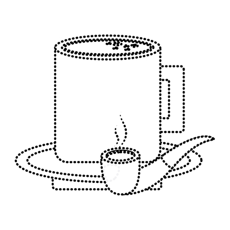 tobacco pipe and coffee cup in plate vector illustration dotted line image Ilustrace