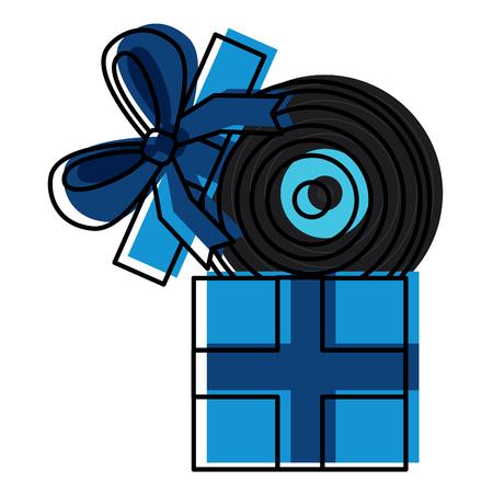 gift box with vinyl disc surprise vector illustration Illustration
