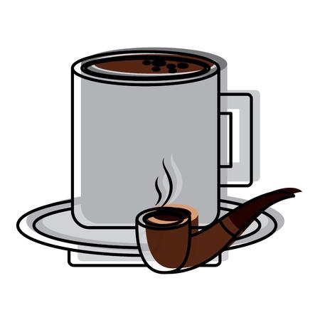 プレートベクターイラストのタバコパイプとコーヒーカップ