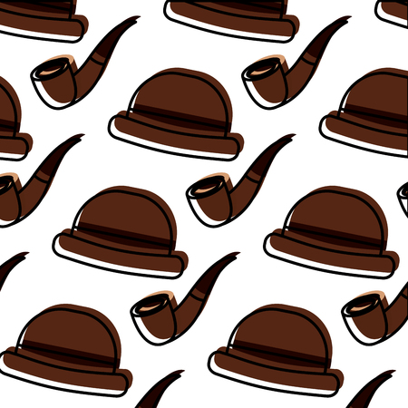 classic hat and tobacco pipe hipster style wallpaper vector illustration