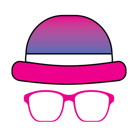 classic hat and glasses fashion men vector illustration degrade color image