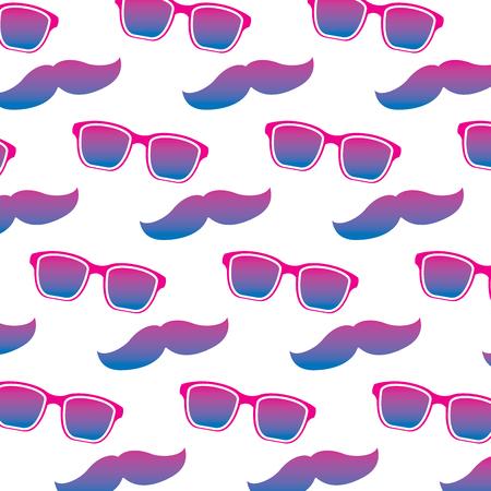 Vintage hipster glasses and mustache background design vector illustration Illustration
