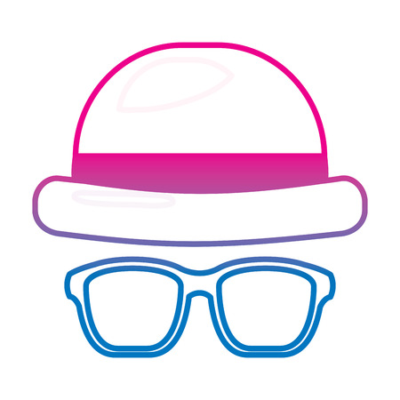 classic hat and glasses fashion men vector illustration gradient color line image