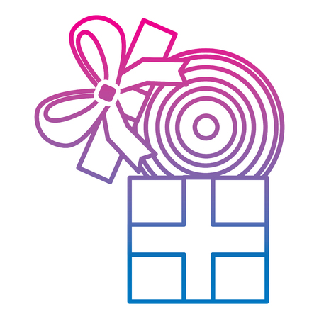 gift box with vinyl disc surprise vector illustration gradient color line image  イラスト・ベクター素材
