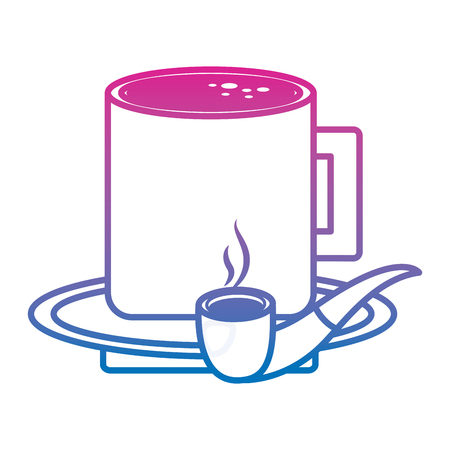 プレートベクターイラストグラデーションカラーライン画像のタバコパイプとコーヒーカップ  イラスト・ベクター素材
