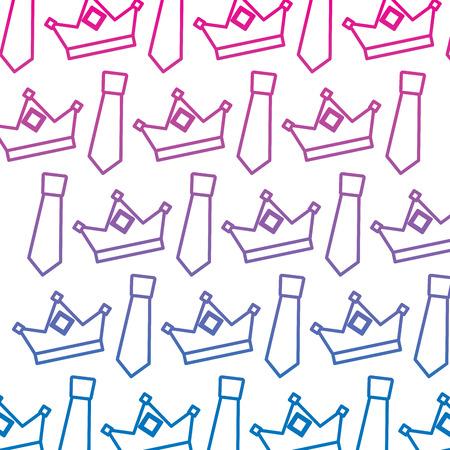 Crown and necktie accessory decoration wallpaper vector illustration Stock Illustratie