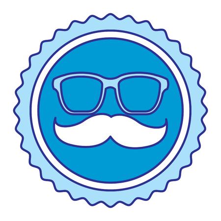Vintage label mustache and glasses vector illustration