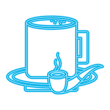 A tobacco pipe and coffee cup in plate vector illustration blue neon Ilustração