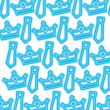 crown and necktie accessory decoration wallpaper vector illustration blue neon Ilustração