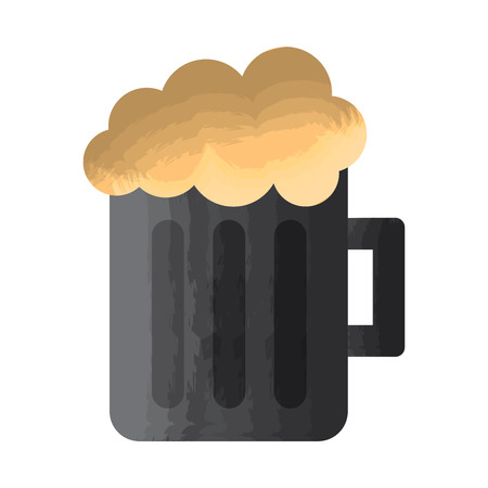 glass beer mug foamy drink alcohol vector illustration