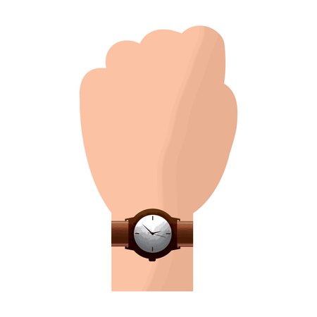 hand with wrist watch accessory image vector illustration Stock Vector - 96963504