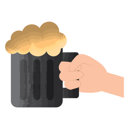hand holding glass beer foamy drink vector illustration