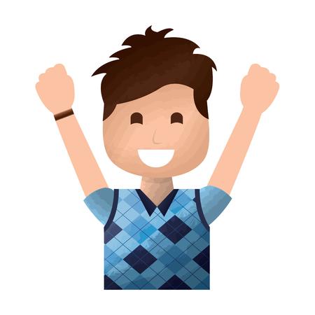 portrait happy man with vest clothes raised hands vector illustration Illustration
