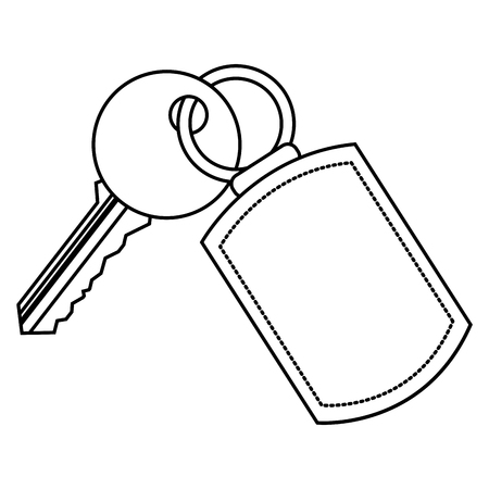 A key with key chain access door vector illustration vector illustration thin line