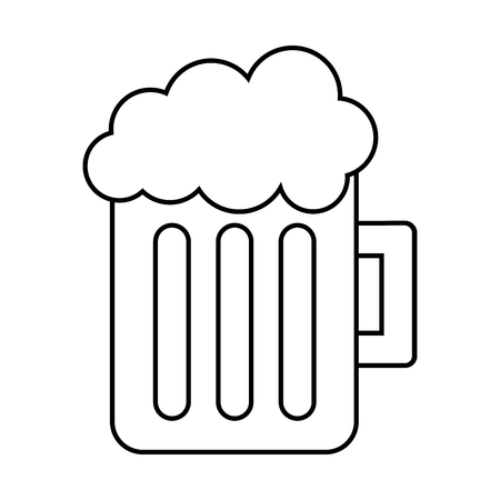 A glass beer mug foamy drink alcohol vector illustration thin line