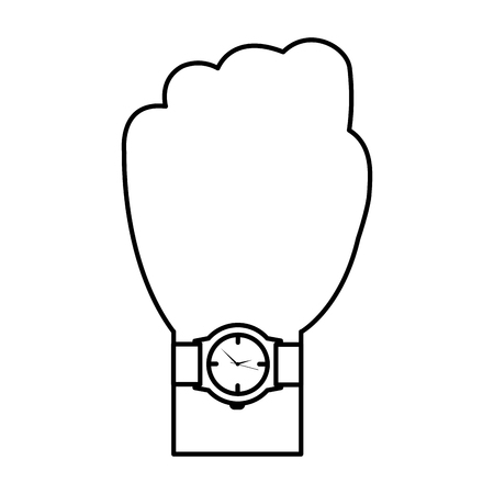 A hand with wrist watch accessory image vector illustration thin line Stock Vector - 97009703
