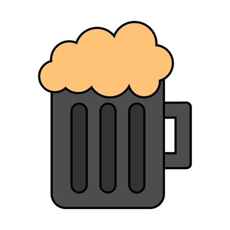 A glass beer mug foamy drink alcohol vector illustration