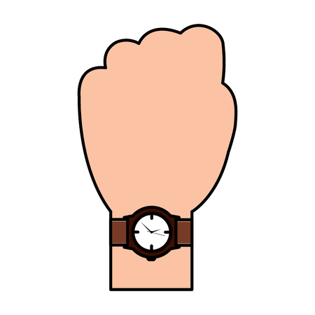 A hand with wrist watch accessory image vector illustration Ilustrace